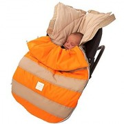 7AM Enfant Bee Pod Baby Bunting Bag for Strollers and Car-Seats with Removable Back Panel Beige/Neon Orange Small/Medi