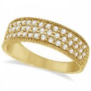 Three-Row Filigree Diamond Statement Ring 14k Yellow Gold (0.65ct)