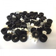 LEGO City - Wheel Tire and Axle Set - Black White and Light Gray 72 Pieces in Total