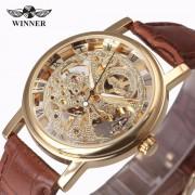 2017 New Hot Sale Skeleton Fashion Mechanical Men Watch Winner Luxury Branded Business Leather Strap Wristwatch CLASSIC GOLD