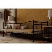 vidaXL Säng i metall samt madrass med minnesskum 90 x 200 cm svart