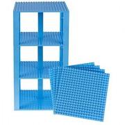Premium Sky Blue Stackable Base Plates - 4 Pack 6 x 6 Baseplate Bundle with 30 Sky Blue Bonus Building Bricks Compatib