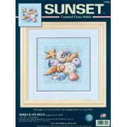 """Shells On Blue Counted Cross Stitch Kit-10""""""""X10"""""""" 14 Count"""