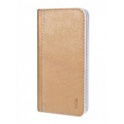 Калъф тефтер от естествена кожа BOOKLET за Samsung Fame 6810 size M златен