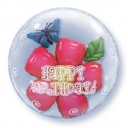 "Balon Double Bubble 24""/61cm Qualatex, Birthday Flower, 68805"