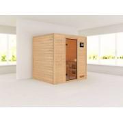 KARIBU Sauna Massivholzsauna SPARSET Oslo 2 Ganzglastür bronziert, inkl. 9kW Bio-Kombiofen ext. Steuerung