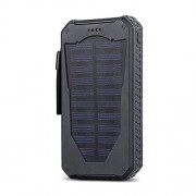 Outdoor Waterproof &dustproof &shockproof Solar Charger,Dual USB Portable External Solar Power Bank Charger 15000mAh for iPhone 6 6s Plus 5s 5se Samsung Galaxy S7 S6 S5 HTC ... ... (Black)
