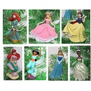Disney PRINCESS Christmas Ornament Set with Merida Jasmine Snow White Aurora Tiana Ariel Cinderella - Shatterproof Ornaments 3.5 to 4.5