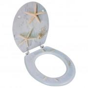 vidaXL Sedadlo na WC z MDF, veko s tvrdým zatváraním, dizajn morské hviezdice