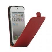 Кожен калъф с вертикално отваряне за IPhone 5/5S - червен