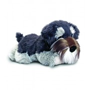 Keel Toys 35cm Laying Grey & White Fluffy Schnauzer Dog Puppy Soft Plush Toy