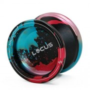 Responsive Magic Yoyo Ball V6 LOCUS Black Blue Red Splashes Aluminum Metal Yoyos for Kids Beginners with Bag Glove 5 Strings
