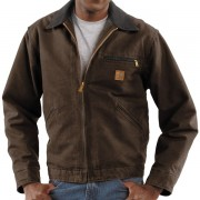 Carhartt Sandstone Detroit Jacket - Blanket Lined Factory Seconds (For Tall Men) DARK BROWN (40)