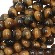 Tiger Tigers Eye Gem Round 6-6.5mm Beads/15.5 (Brown & Gold)