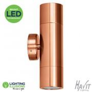 2X5W LED Warm White Copper Exterior IP65 Up/Down Pillar LED Light 240V GU10