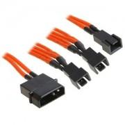 Cablu adaptor BitFenix Alchemy 4-pini Molex la 3x 3-pini 5V, 20cm, orange/black, BFA-MSC-M33F5VOK-RP