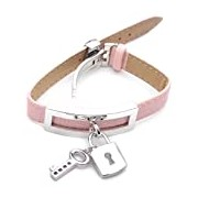 Adara Stainless Steel Padlock and Key with Pink Colour Watch Strap Sterling Silver Bracelet of Length 23 cm