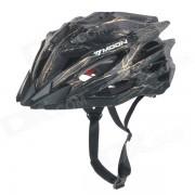 MOON MV27 Outdoor Cycling One-Piece PC + EPS Bike Helmet - Black + Yellow (L)