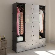 vidaXL Armário portátil modular 18 gavetas preto e branco 37 x 150 190 cm