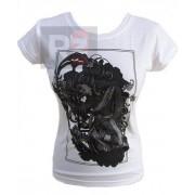 Biały t-shirt z nadrukiem - KOBIETA