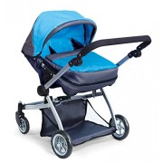 Doll Strollers Pro Deluxe Twin Doll Pram/Stroller Blue & Grey