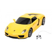 Toyhouse Officially Licensed Radio Remote Control Rastar Porsche 918 Spyder RC 1:24 Scale Model Car, Yellow