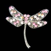 Swarovski Crystal Rose Pink Dragonfly Bridal Wedding Pin Brooch