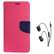 Avzax Diary Look Flip Wallet Case Cover With Magnetic Closure For Oppo A37 (Pink) + In Ear Headphone