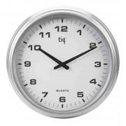 Ceas rotund de perete exterior, D-350mm, cifre arabe, TIQ - rama metalica - dial alb (adaptor inclus)