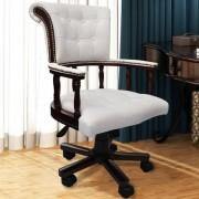 vidaXL Chesterfield kapitánské otočné kancelářské křeslo bílé