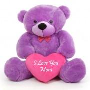 3.5 feet big purple teddy bear with pink I Love You Mom Heart