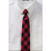 ランズエンド LANDS' END メンズ・ウール・バッファロー・チェック・タイ/ネクタイ(リッチガーネットチェック)