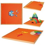 Large 17-inch Board with Felt for Games & Designs with Grimms Creative Puzzles and Building Blocks