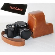 TechCare Ever Ready Protective Camera Leather Case Cover for Canon PowerShot SX500 IS/Canon PowerShot SX510 HS- Brown