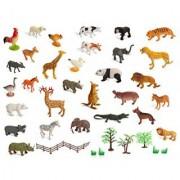 Set of 30 Large size ZOO SET Wild Jungle Farm & Desert Animals In Plastic Storage Container