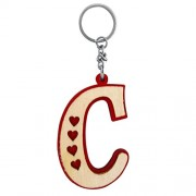 The Marketvilla Single Sided Wooden Keychains Alphabet Letter Initial C Valentine Heart Keychain With Metal Ring For Kids, Men Women Boys & Girls