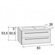 Ansamblu mobilier Riho cu lavoar 80cm gama Senso, Set 40 Gloss