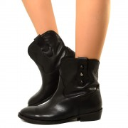 Stivaletti Texani Ankle Boots in Vera Pelle Neri Made in Italy T: 36