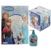 Disney Frozen Kristoff Anna Elsa and Olaf Word Search Puzzle Book Berry Hand Soap & Tissue Set