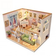 Assemble DIY Doll House Toy Wooden Miniature Doll Houses toys With Furniture LED Lights Birthday Gift