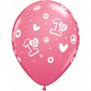 "Baloane latex 11"" inscriptionate 1st Birthday Circle Hearts – Girl Rose, Qualatex 41185"