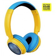 Contixo KB-300 Kid Safe 85DB Over the Ear Wireless Bluetooth LED Headphone with Volume Limiter Built-in Microphone Micro SD FM Stereo Radio Audio Input Blue + Yellow