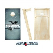 AJJCornhole 10 Piece US Air Force Imprint Cornhole Set 107-Air Force Imprint with red/ bags Color: Yellow