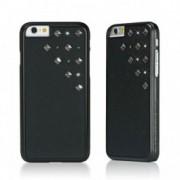 Черен кейс от полиуретанова кожа Bling My Thing за Apple iPhone 6/6s със сребристи камъни Сваровски и метални шипове