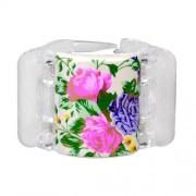 Linziclip Midi Hair Clip Haargummis für Frauen Haarklammer Farbton - White Pearl Flowers