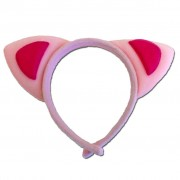 Light Pink Alice Band Cat Ears With Dark Pink