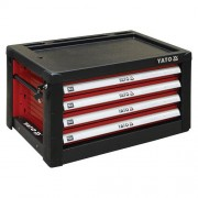 Skříňka dílenská přenosná 4 zásuvky 690x465x400mm červená