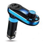 MOKE Transmisor FM Bluetooth manos libres para el coche transmisor de radio reproductor de mp3 con control remoto USB dual para iPhone 6 6s 5s 6 Plus Samsung Galaxy Tablet S7 S6 S5 LG G4 5 HTC (Azul)