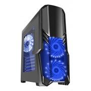CiT G Force Gaming Custodia con 2 RGB Fan, Ventilatore posteriore, lato frontale nero Black