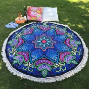 rosegal Ethnic Bikini Boho Swimwear Eight-Square Flower Print Fringed Round Beach Decor Throw Scarf